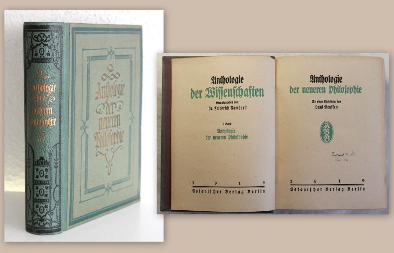 Deussen Anthologie der neueren Philosophie Werke Hobbes Descartes Spinoza Locke