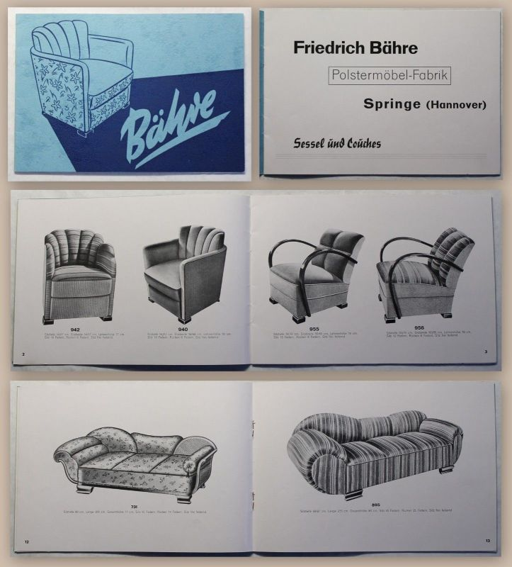 Katalog Bähre Polstermöbel Fabrik Springe Niedersachsen Um 1935