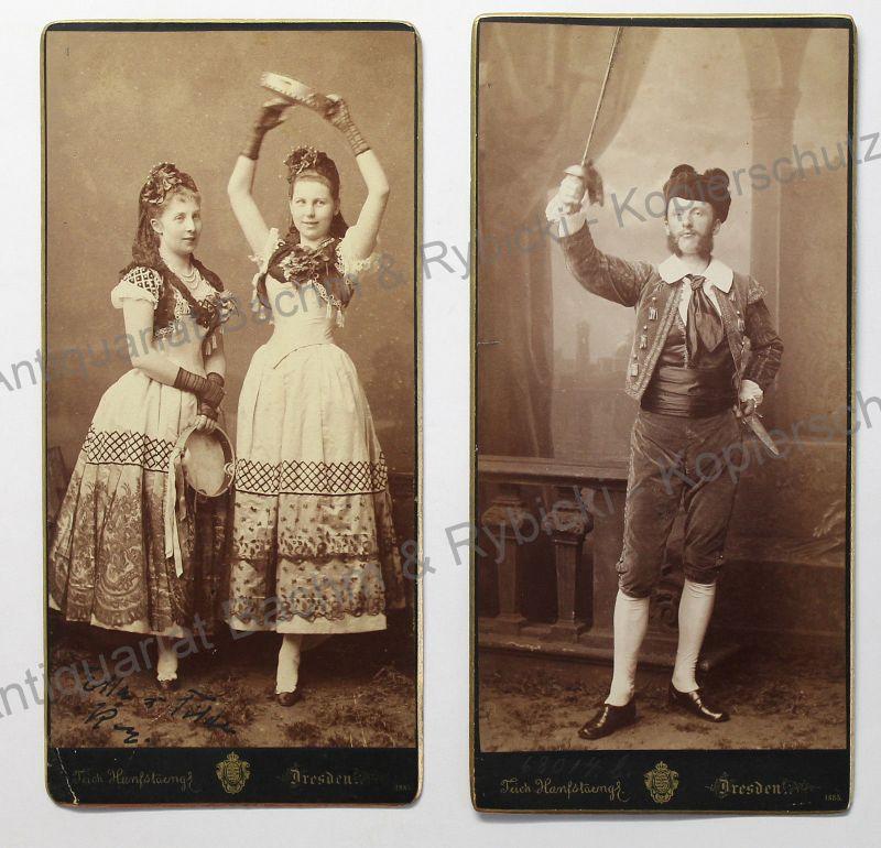 2 Fotografien Hanfstaengl Dresden 1885 Porträt Ernst v. Seydewitz & Ehefrau Ella