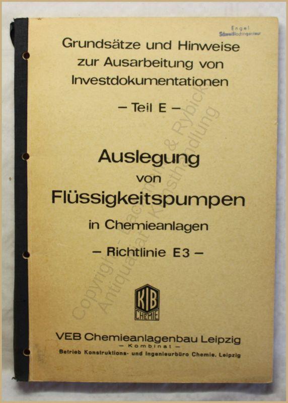 Hilsebein Auslegung von Flüssigkeitspumpen in Chemieanlagen 1970 Technik xy