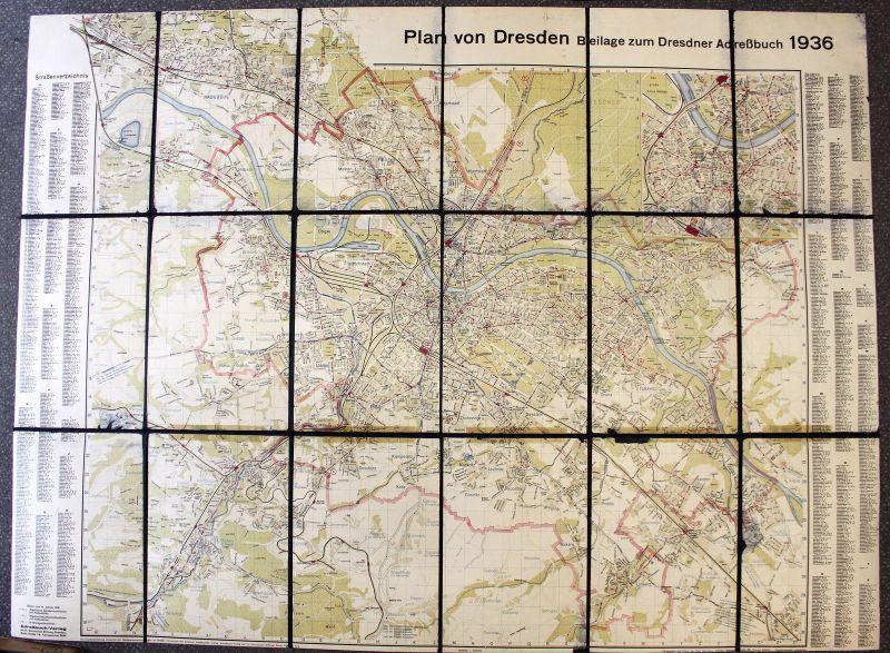 Plan von Dresden Beilage zum Dresdner Adressbuch 1936 Stadtplan ca 90x120 cm xz