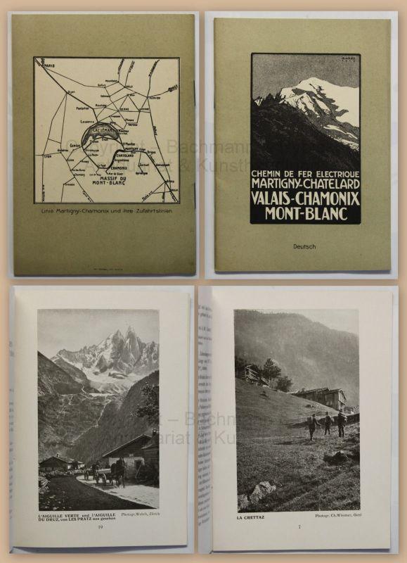 Prospekt Broschüre Reise Vallais-Chamonix Mont Blanc um 1915 Reklame Schweiz xz