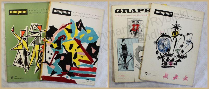 Werbeprospekt Konvolut Graphik Werbung + Formgebung 4 Hefte um 1956 Design xy
