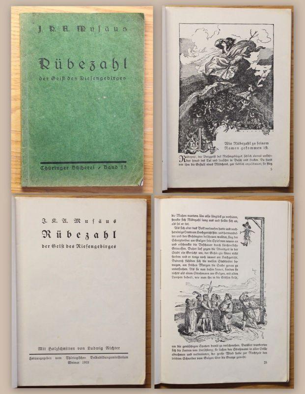 Musäus Rübezahl der Geist des Riesengebirges 1933 Märchen Sagen Krakonoš xz