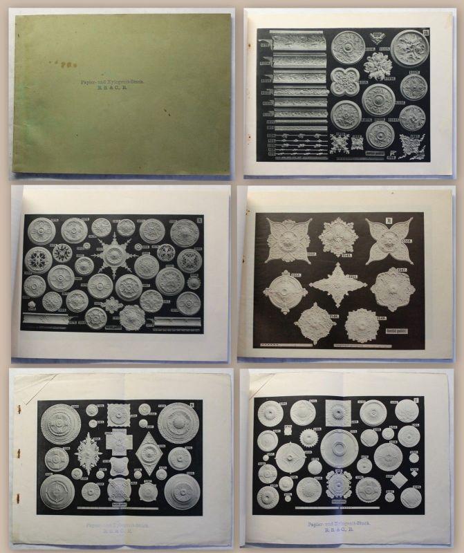 Alter Katalog Papier- und Xylogenit-Stuck R.S.&C.R. um 1900 Jugendstil Ornamete