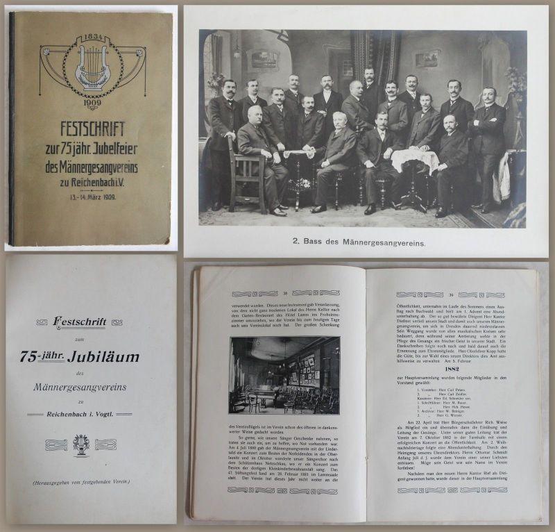 Festschrift 75jähr. Jubelfeier des Männergesangvereins Reichenbach i.V. 1909 xz