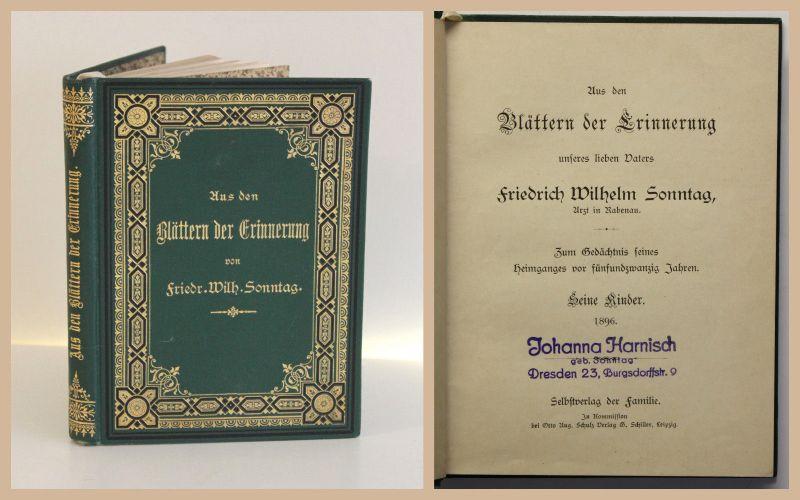 Friedrich Wilhelm Sonntag Aus den Blättern der Erinnerung um 1890 Gedichte rara