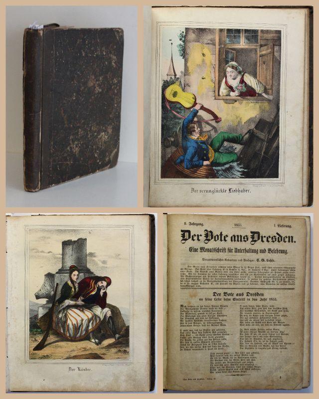Der Bote aus Dresden Monatsschrift II. Jg 1855 mit colorierten Lithografien xz