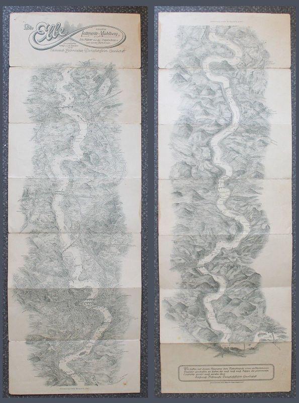 Lithografisches Leporello -Die Elbe zw. Leitmeritz-Mühlberg - Führer um 1920 xz
