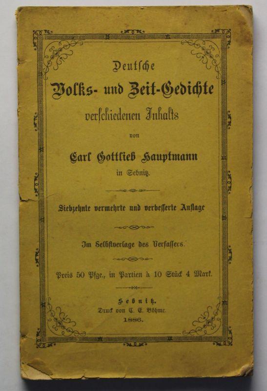 Hauptmann Deutsche Volks- und Zeit-Gedichte 1886 Lyrik Dichtkunst Deutschland xz