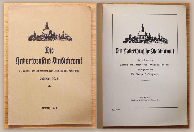 Die Haberkornsche Stadtchronik 3/3 Geschichts- & Altertumsverein Kamenz 1934 xz