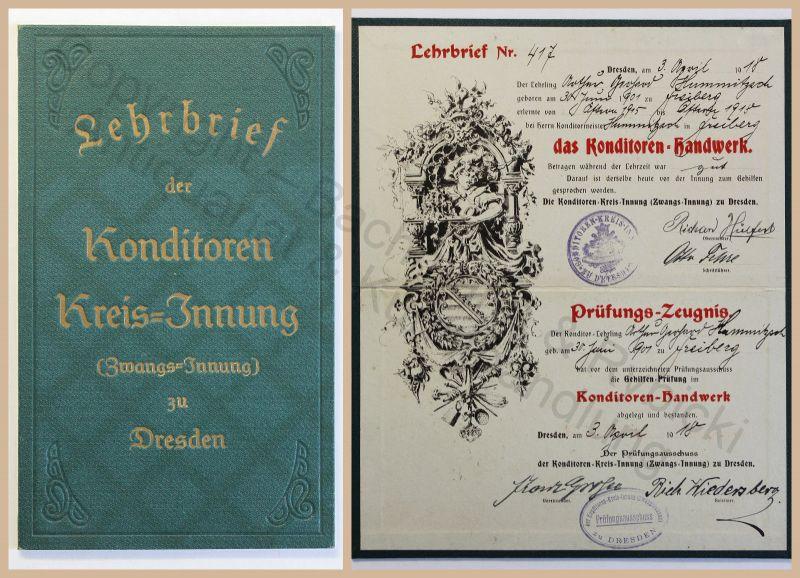 Alter Lehrbrief Konditor Handwerk Konditoren-Handwerk Dresden 1918 Zeugnis xz 0