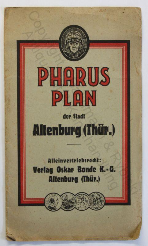 Pharus-Plan der Stadt Altenburg um 1930 Landkarte Stadtplan 1:10000 Thüringen xz