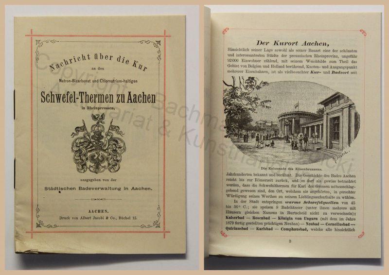 Original Prospekt Schwefel-Thermen zu Aachen um 1890 Kurort Nordrhein-Westfalen