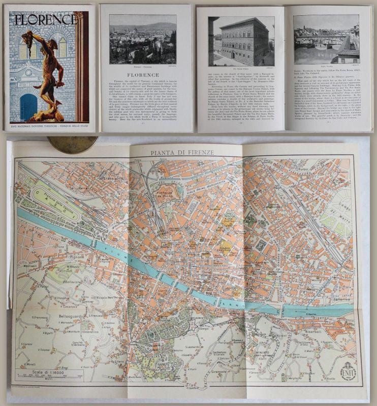 Engl. Prospekt: Florence (um 1935) mit Stadtplan & Abbildungen -Reise Italien xz