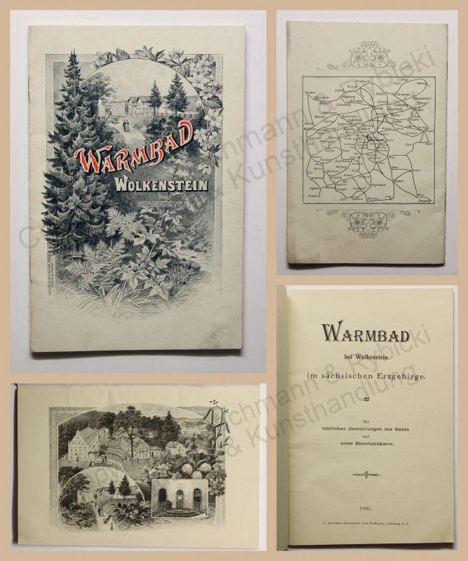Original Prospekt Warmbad bei Wolkenstein Erzgebirge Sachsen 1900 Saxonica rara