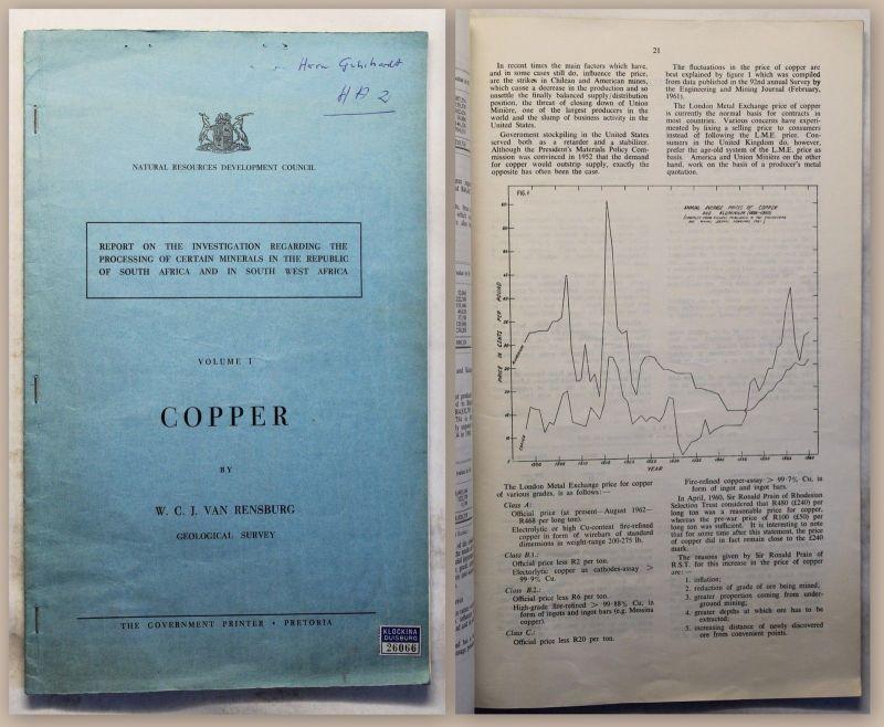 Rensburg Copper Geological Survey (um 1963) Bericht Bergbau Südafrika xy