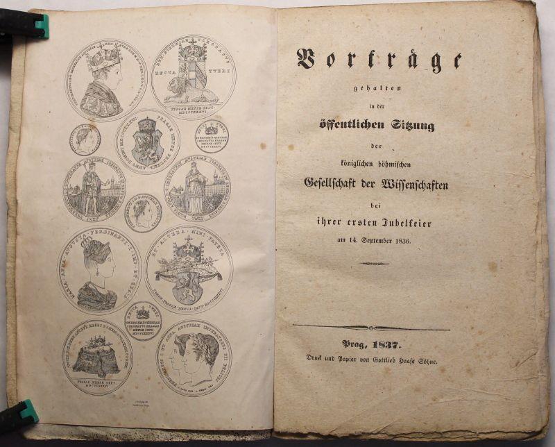 Königl. Böhmische Gesellschaft der Wissenschaften Vorträge 1837 Festschrift xz