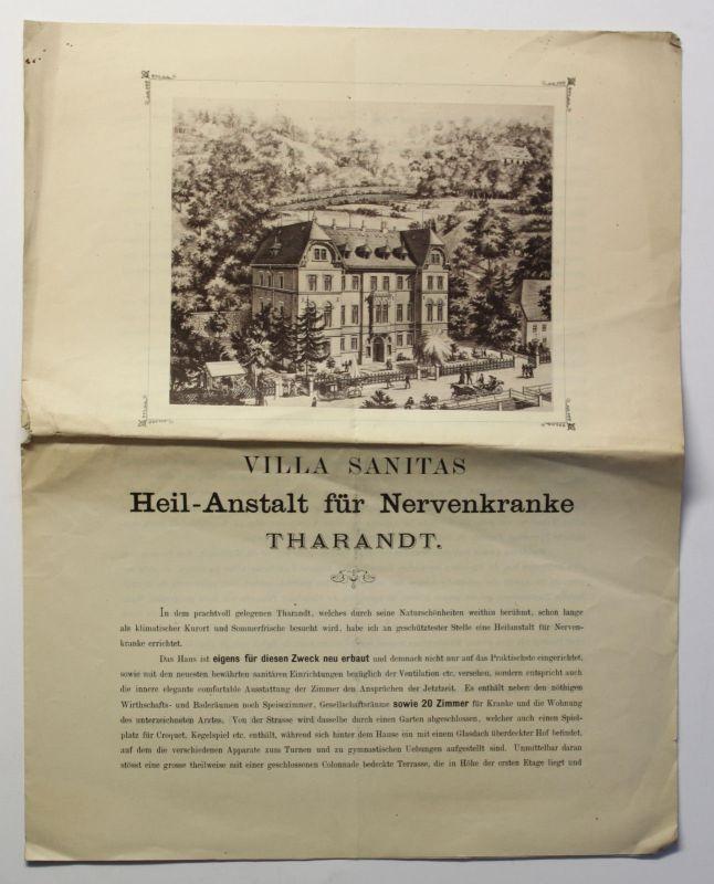 Original Prospekt Villa Sanitas Heilanstalt Tharandt um 1880 Sächsische Schweiz