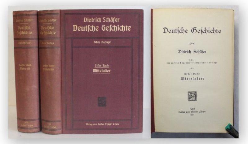 Schäfer Deutsche Geschichte 2 Bde 1921 Mittelalter Neuzeit Militaria Politik xy