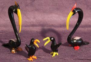 Pelikanfamilie 4 Stk - Lauscha Glasfiguren Mundgeblasen Glas Thüringen Pelikan