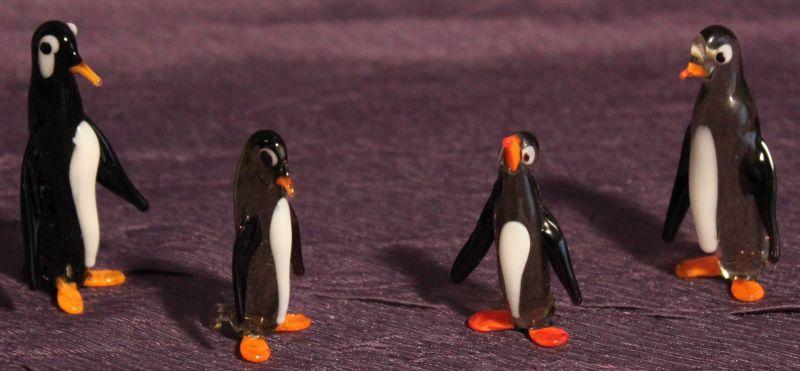 Pinguinfamilie 4 Stk - Lauscha Glasfiguren Mundgeblasen Glas Thüringen Pinguin