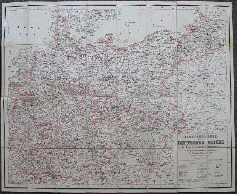 Gaebler: Verkehrskarte des Deutschen Reichs um 1895 Eisenbahn Straßen Dampfer xz
