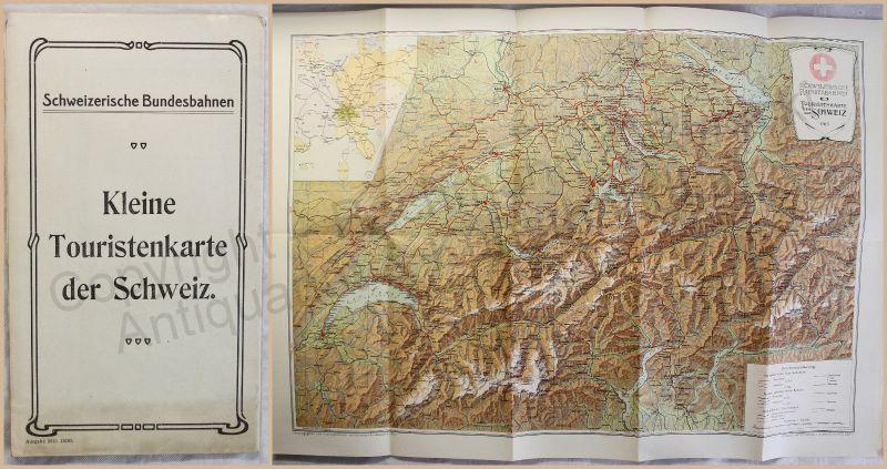 Kleine Touristenkarte der Schweiz Landkarte Plan mit Tourenvorschlägen 1913 xz