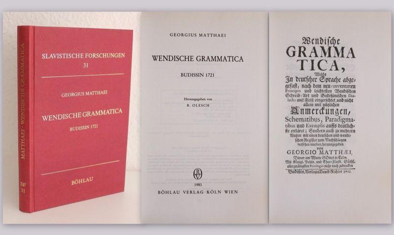 Gerog Matthaei Wendische Grammatica 1721 Reprint 1981 Bautzen Slavsitik Sorbisch