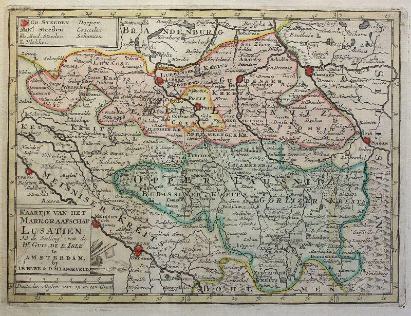 Kaartje Lusatien Karte der Gesamten Lausitz Sachsen 1791 handkoloriert rara xz