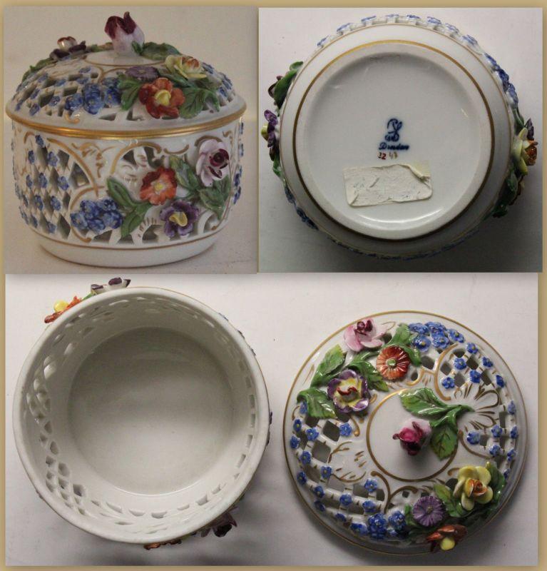 Potschappel Dresden Porzellan Dose Deckeldose Zuckerdose durchbrochen Blumen cr