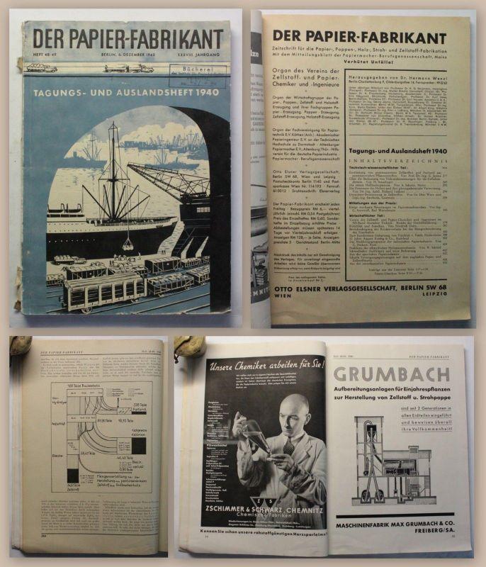 Der Papierfabrikant 1940 Tagungsheft Fachzeitschrift Papierherstellung xz