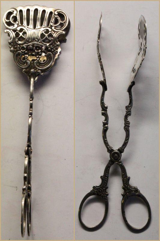 Konfektzange Pralinenzange 800er Silber gepunzt Jugendstil Besteck xy