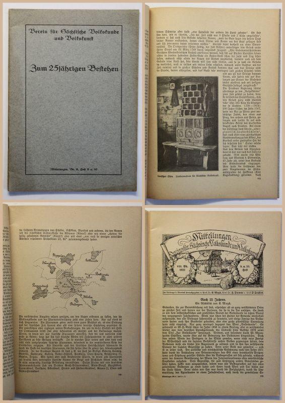 Verein für Sächische Volkskunde und Volkskunst Zum 25jährigen Bestehen 1922 xz