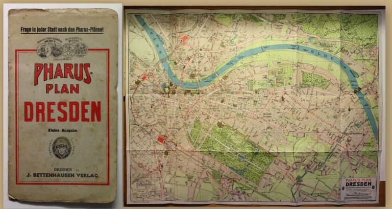 Pharus-Plan der Stadt Dresden um 1920 Landkarte Stadtplan 1:10000 Sachsen sf