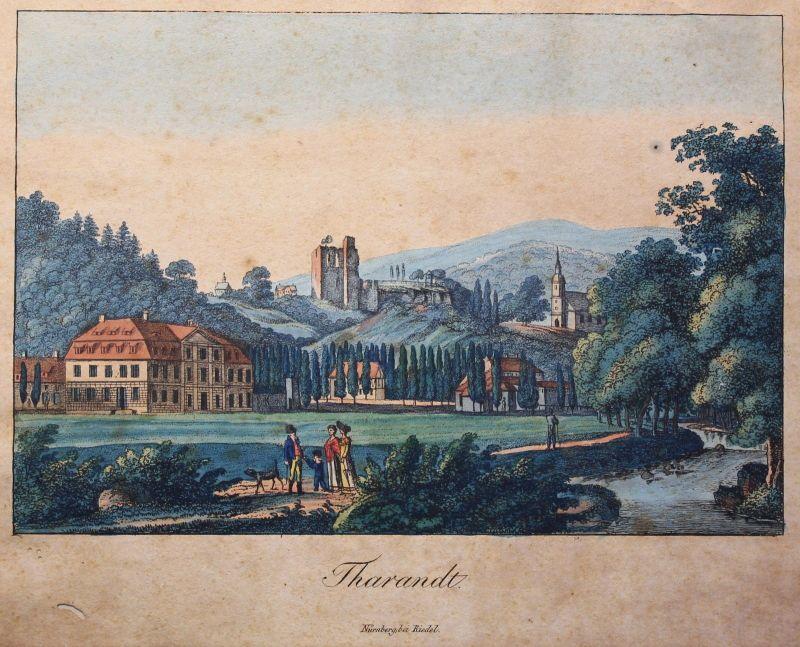 Kolorierte Lithografie Tharandt um 1840 bei Riedel Nürnberg Grafik Sachsen xz