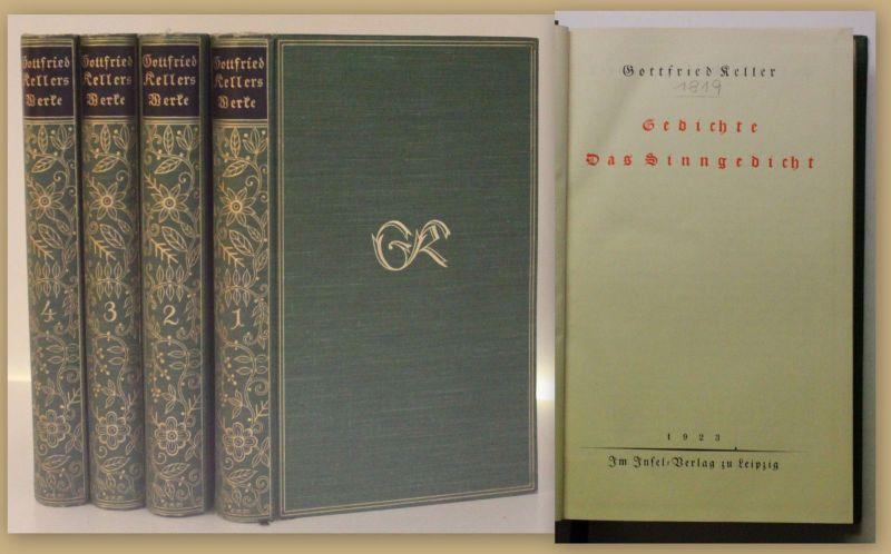 Keller Gesammelte Werke 4 Bde 1923 Belletristik Gedichte Klassiker Literatur xy
