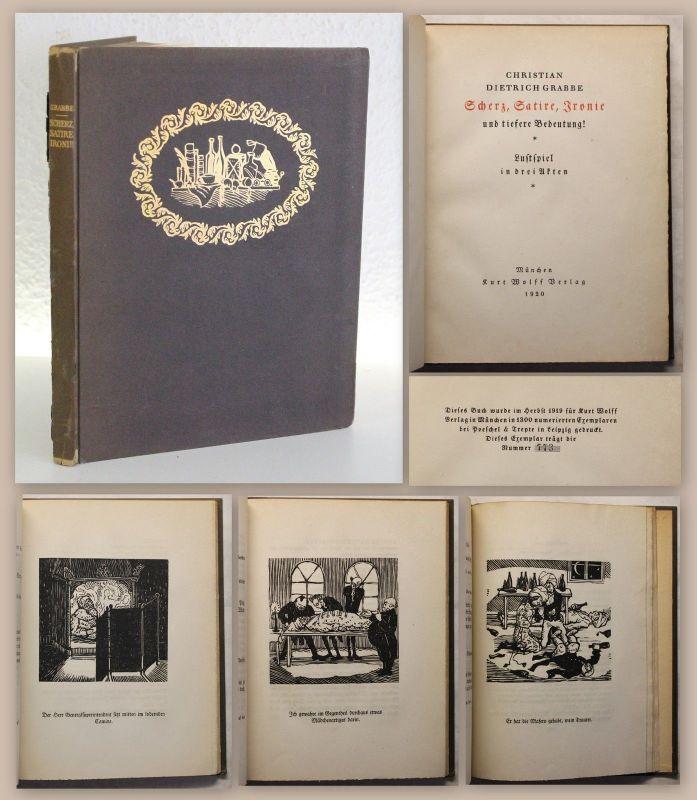 Graabe Scherz, Satire, Ironie Lustspiel 1920 12 Orig. Holzschnitte Thylmann xy