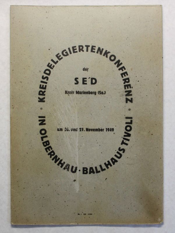 Mappe Kreisdelegiertenkonferenz SED Marienberg Olbernhau Ballhaus Tivoli 1949 xz