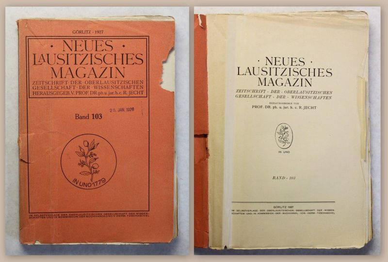 0eded5e194e6e9 Neues Lausitzisches Magazin Band 103 Zeitschrift Oberlausitz 1927 Sachsen  xz 0
