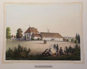 Lithografie Hilmersdorf Ansicht Sachsen Poenicke Schlösser Rittergüter um 1855