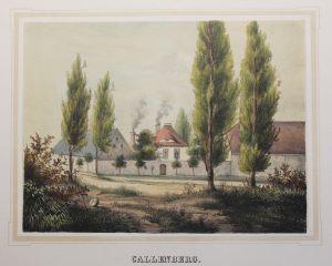 Lithografie Callenberg Ansicht Poenicke Schlösser & Rittergüter Sachsen um 1855