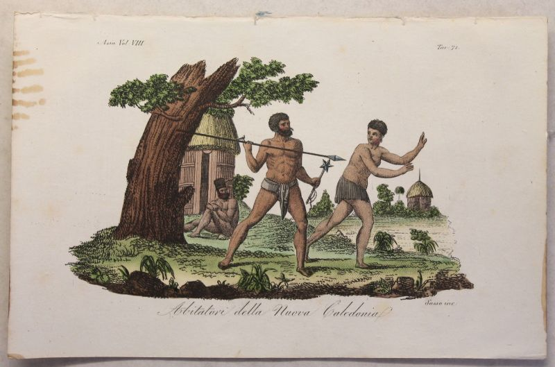 Melanesien Neukaledonien Trachten Kupferstich um 1825 Sasso handkoloriert Grafik