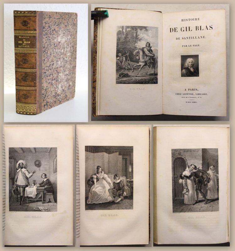 Le Sage Histoire de Gil Blas de Santillane 1836 Frontispiz & Tafeln Desenne xz