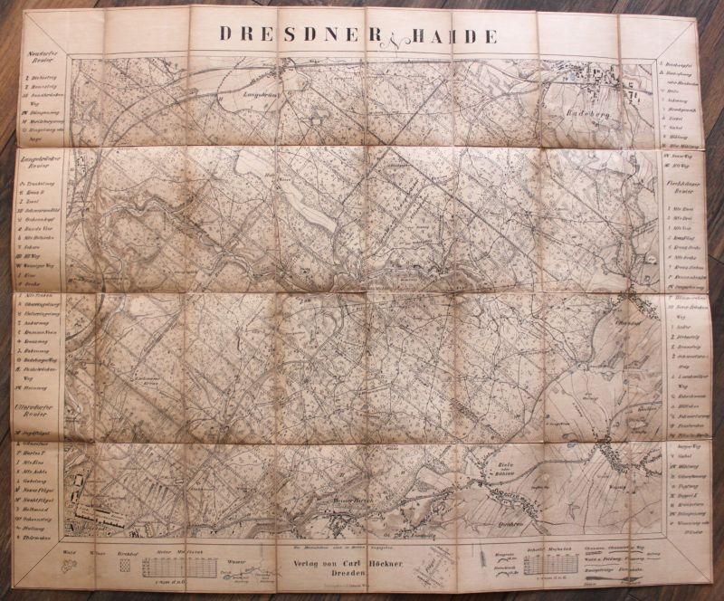 Plan der Dresdner Haide um 1860 rara Landkarte Photolithografischer Plan Heide