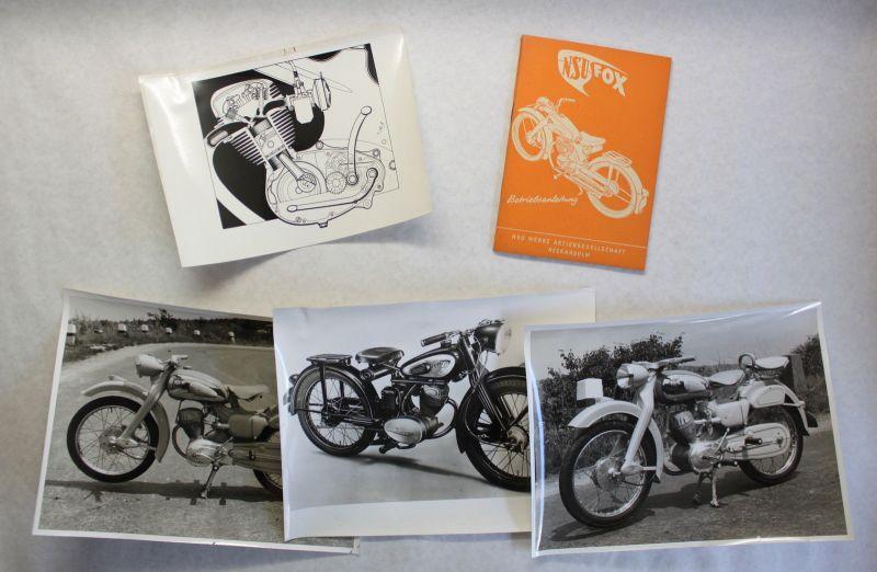 NSU Fox Motorrad Orig. Betriebsanleitung um 1950 & Pressefotos Motorzeichnung xz