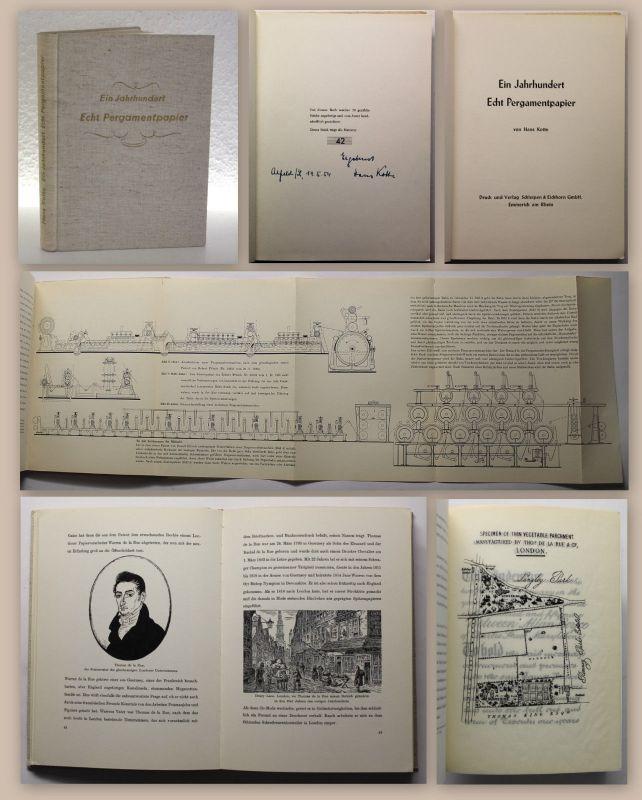 Kotte Ein Jahrhundert Echt Pergamentpapier 1954 Ex. 42/50 Papierherstellung xz