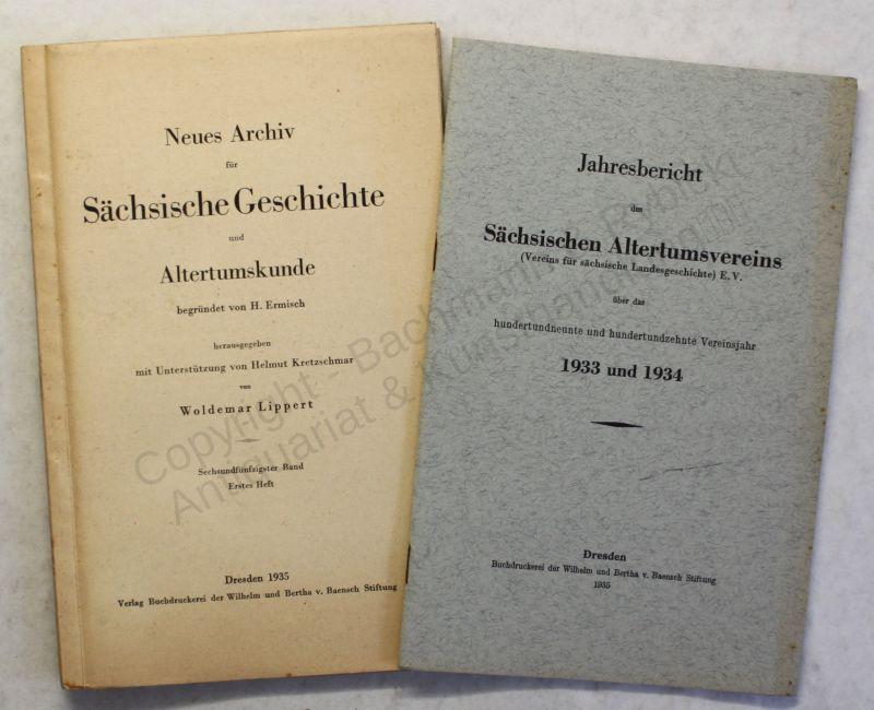 Lippert Ermisch Neues Archiv Sächsische Geschichte 56. Bd 1.Heft 1935 Sachsen xy