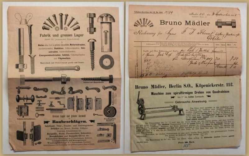 Orig Prospekt/ Katalog Bruno Mädler um 1920 Werbung Reklame Schrauben sf