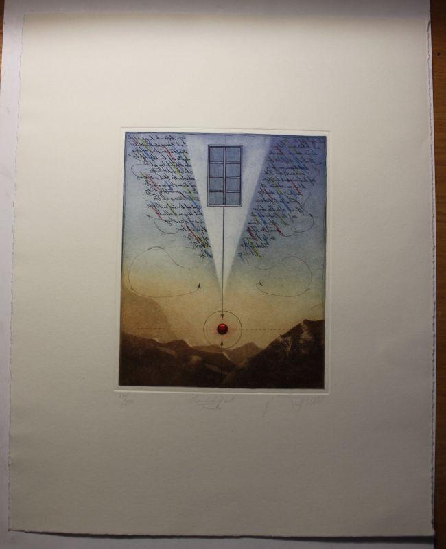 Landschaft mit Fenster ohne Jahr Farbradierung Grafik Kunst Druck Original sf